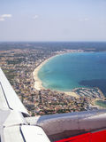 Aerial view of Majorca beach. Taken from an airplane Stock Images