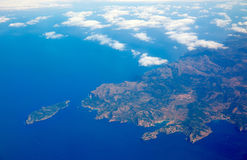 Aerial view of Majorca north of Malorca balearic. Aerial view of Majorca north of Mallorca balearic island in blue Mediterranean Royalty Free Stock Photo