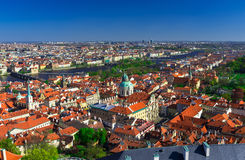 Aerial view Mala Strana and Old Town in Prague, Czech Republic. Aerial view Mala Strana (Lesser Town of Prague) and Old Town in Prague, Czech Republic Stock Photos