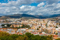 Aerial view of Malaga in a beautiful spring day, Spain stock photo