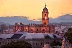 Aerial View of Malaga Cathedral in the Evening, Malaga, Andalusi. A, Spain Royalty Free Stock Photos