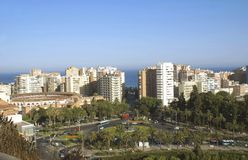 Aerial view of Malaga city in Andalusia, Spain, Europe Stock Photos