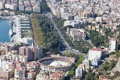 Aerial view of Malaga downtown with its bull ring. Stock Photography