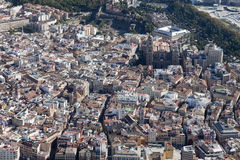 Aerial view of Malaga downtown. Royalty Free Stock Photo