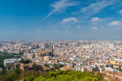 Aerial view of Malaga from Gibralfaro. Alcazaba, Cathedral, and Museum of Malaga royalty free stock photo