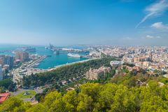 Aerial view of Malaga from Gibralfaro. Harbour, Town Hall, Alcazaba, Cathedral, and Museum of Malaga royalty free stock images