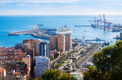 Aerial view of Malaga with Port from castle Royalty Free Stock Image