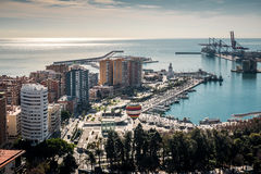 Aerial view of Malaga port Royalty Free Stock Photography