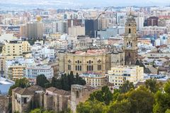 Aerial view of Malaga, Spain stock photography