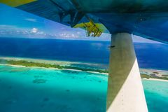 Aerial view of Maldives beach landscape. Maldives island view from seaplane or drone royalty free stock photography
