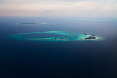 Aerial View of Maldives Island in Indian ocean Stock Images