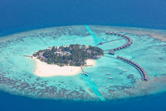 Aerial view on Maldives island, Raa atol royalty free stock images
