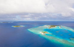 Aerial view on Maldives island, Raa atol Royalty Free Stock Photo