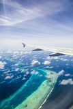 Aerial view of the Maldives Stock Photography