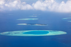 Aerial view on Maldives islands, Raa atol Royalty Free Stock Photo
