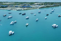 Aerial view of maldives port Stock Photo