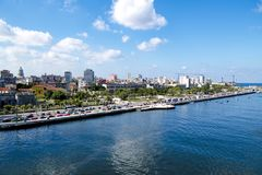 Aerial view Malecón, Havana Cuba. Malecon - broad esplanade, roadway and seawall which stretches for 8 km 5 miles along the coast in Havana, Cuba. The old Royalty Free Stock Photography