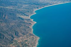 Aerial view of Malibu area. With ocean and mountains, Los Angeles County, California Stock Photo