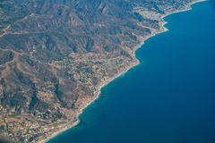 Aerial view of Malibu area. With ocean and mountains, Los Angeles County, California Royalty Free Stock Photo