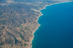 Aerial view of Malibu area. With ocean and mountains, Los Angeles County, California Royalty Free Stock Image