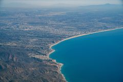 Aerial view of Malibu area. With ocean and mountains, Los Angeles County, California Stock Image