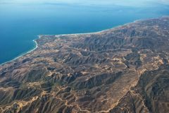 Aerial view Malibu coastline near Los Angeles. A view looking north of the Santa Monica Mountains and the Malibu Coastline, including Point Dume and Zuma Beach Stock Photo