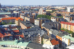 Aerial view of Malmo city, Sweden. Panoramic aerial view of Malmo city, Sweden Stock Images