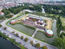 Aerial view of Malmoe Castle, Sweden. Aerial view of Malmoe Castle located in southern Sweden Royalty Free Stock Photography