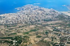 Aerial view at Malta Bugibba from airplane. Bugibba is a city located of smallest European island state of Malta stock photos