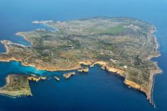 Aerial view of malta island in blue sea. Aerial view of malta island in blue ocean Royalty Free Stock Photography