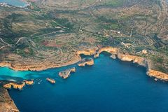 Aerial view of malta island in blue sea. Aerial view of malta island in blue ocean Stock Photo