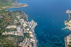 Aerial view of malta island in blue sea. Aerial view of malta island in blue ocean Stock Photos