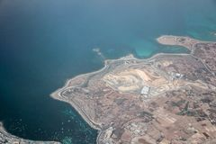 Aerial view of malta island in ocean. Aerial view of malta island in blue ocean Royalty Free Stock Photography