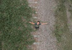 Aerial View Of Man In Grey Top And Black Pants Standing Royalty Free Stock Photography