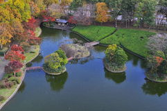 Aerial view of man made island in autumn Stock Photography