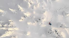 Aerial view of man walking with snowshoes on white snow in winter. stock video footage