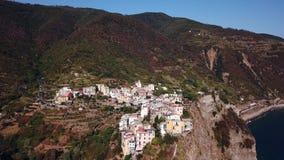 Aerial view of Manarola in Cinque Terre Italy stock video footage