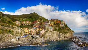 Aerial view of Manarola. Five Lands from the sky, Italy Stock Photography