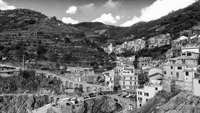 Aerial view of Manarola. Five Lands from the sky, Italy.  Stock Images