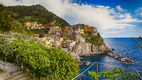 Aerial view of Manarola. Five Lands from the sky, Italy.  Royalty Free Stock Photos