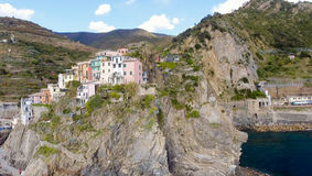 Aerial view of Manarola. Five Lands from the sky, Italy.  Stock Image