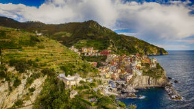 Aerial view of Manarola. Five Lands from the sky, Italy.  Royalty Free Stock Photo