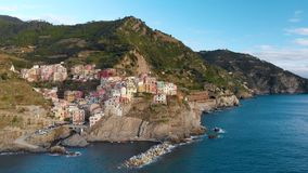 Aerial view of Manarola, the second-smallest of the famous Cinque Terre towns, Liguria, Northern Italy stock video