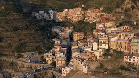 Aerial view of Manarola before sunset stock video