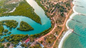 Aerial view of the mangrove swamp, dar es salaam. Aerial view of the mangrove swamp royalty free stock images