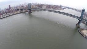 Aerial view of Manhattan Bridge stock footage
