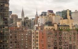 Aerial view of Manhattan buildings. Metropolis skyline.  Royalty Free Stock Images