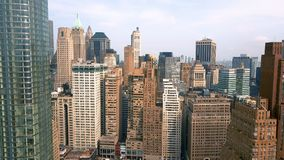 Aerial view of Manhattan downtown, financial centre, New York City. Skyscrapers around. Drone shot. Lower Manhattan stock video footage