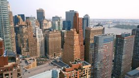 Aerial view of Manhattan downtown, financial centre, New York City. Skyscrapers around. Drone shot. Lower Manhattan stock video
