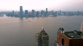 Aerial view of Manhattan downtown, financial centre, New York City. Skyscrapers around. Drone shot. Lower Manhattan stock footage